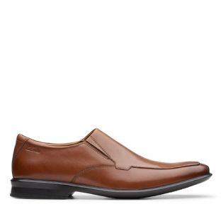 Clarks Mens Bensley Step Tan Leather Shoes